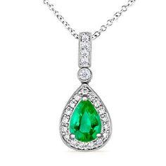 Pear Emerald and Diamond Vintage Pendant   #Angara