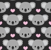 Cute koalas and pink hearts by petitspixels, Spoonflower digitally printed fabric