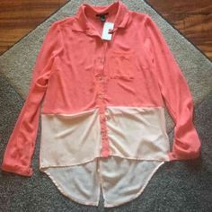 Forever 21 Coral Chiffon Shirt Small Forever 21 Coral shirt size small! High low style!! Brand new with tags! Super cute! Check out my closet too! Forever 21 Tops Blouses