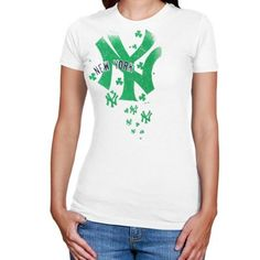 Majestic New York Yankees Ladies For the Love of Shamrocks T-Shirt - White