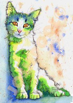 Josie p, watercolour cat painting chat art katze kitten акварельные кошки. Watercolor Animals, Watercolor And Ink, Watercolor Paintings, Watercolors, Cat Drawing, Painting & Drawing, Happy Paintings, Cat Paintings, Oeuvre D'art