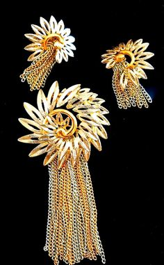 Fringe Brooch Earrings Set Flower 2-Tone Chains by RenaissanceFair