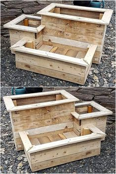Original DIY ideas for Recycling wood pallet planters ideas for planters # . - UPCYCLING IDEAS - Original DIY ideas for Recycling wood pallet planters ideas for planters # …, pallets - Wood Pallet Planters, Reclaimed Wood Projects, Diy Pallet Projects, Wooden Pallets, Pallet Wood, Outdoor Pallet, Garden Pallet, 1001 Pallets, Pallet Benches