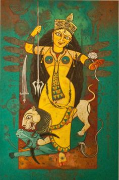 'Durga VI' - Snehanshu Sekhar Das - Egg temepera on handmade paper - x Kali Goddess, Goddess Art, Jamini Roy, Durga Ji, Indian Drawing, Durga Painting, Abstract Sketches, Spiritual Paintings, Navratri Images