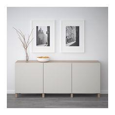 BESTÅ Storage combination with doors, walnut effect light gray, Lappviken light gray walnut effect light gray/Lappviken light gray 70 7/8x15 3/4x29 1/8