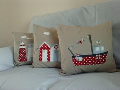 New set of three contemporary nautical cushions by jo fulham textiles, via Flickr