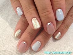 One nail color beige blue-gray gold