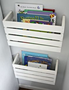 Take a crate, cut it in two, and all of a sudden you have nice DIY bookshelves!