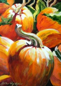"Daily Paintworks - ""The Fall Preview"" - Original Fine Art for Sale - © JoAnne Perez Robinson Autumn Painting, Autumn Art, Autumn Theme, Watercolor Artists, Watercolor Flowers, Pumpkin Art, Scary Pumpkin, Still Life Fruit, Dragonfly Art"