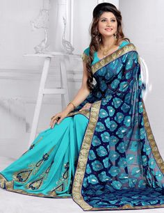 174203: Blue color family Embroidered Sarees, Party Wear Sarees with matching unstitched blouse.