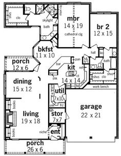 2006 sq ft House Plan 65942 Level One