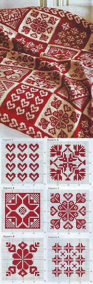 Red and White fair isle knitting pattern and designs Yarn Projects, Knitting Projects, Crochet Projects, Knitting Tutorials, Hair Tutorials, Tunisian Crochet, Knit Or Crochet, Crochet Granny, Knitting Charts