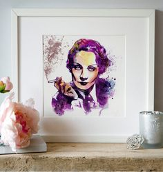 Marlene Dietrich Watercolor portrait Wall art by Artsyndrome