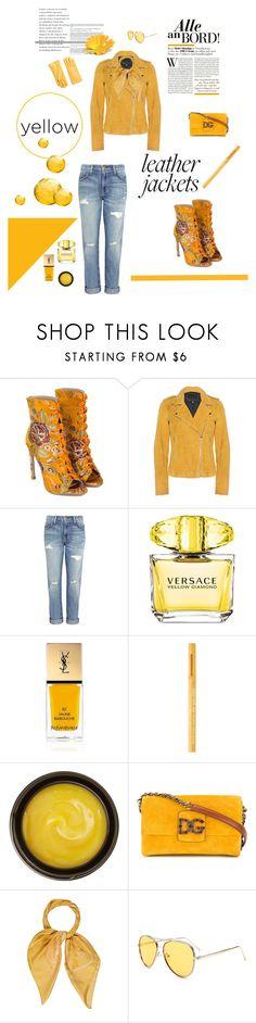 """Bright Yellow"" by brandikw ❤ liked on Polyvore featuring Goosecraft, Current/Elliott, Versace, Yves Saint Laurent, Too Faced Cosmetics, de Mamiel, Dolce&Gabbana, Salvatore Ferragamo and Furla"