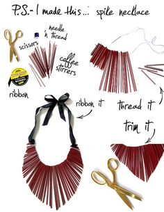 To make your own stunning chic collar statement necklace hit up your local coffee shop.  The lovely people at Dunkin' Donuts had these cranberry colored coffee stirrers for my Designer DIY.  Get creative with colors and collar shape by shaping with a few snips after you sew the straw on.  Make sure you double up your thread for extra support.