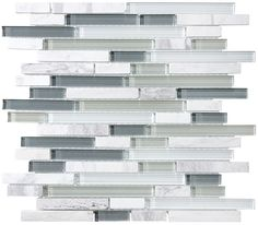 Bliss Iceland Stone and Glass Linear Mosaic Tiles