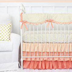 Coral and Gold Dot Ruffle Bumperless Crib Bedding | 2 or 3 Piece Girl Bumperless Crib Set by CadenLaneBabyBedding on Etsy https://www.etsy.com/listing/214938742/coral-and-gold-dot-ruffle-bumperless