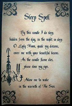 Sleep Spell Wicca is kind of cool makes me feel like I'm in one of my fantasy books ^-^ Magick Spells, Wicca Witchcraft, Healing Spells, Witch Spells Real, Real Witches, Fairy Spells, Witchcraft Tattoos, Wiccan Rituals, Wiccan Witch