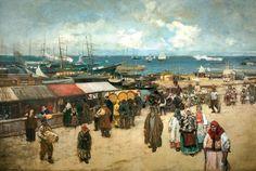 KONSTANTIN KOROVIN. MARKET AT THE ARKHANGELSK MOORING. 1896 White Sea, Borderlands, 15th Century, Painting, Google, Art, Life, Impressionism, Russia