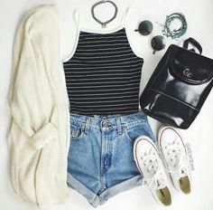 backpack, black shirt, bracelets, chokers, converse, fashion ...