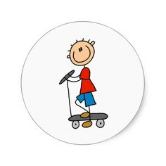 Stick Boy on Scooter Stickers
