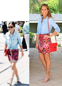 Inspiration: InStyle    Chambray top, colorful skirt, lace-up nude shoes - check, check check! The  only major difference between our looks is that her version is much more  relaxed. Flat sandals would easily fix that, and make it possible to wear  this outfit for errands. Switch to heels an
