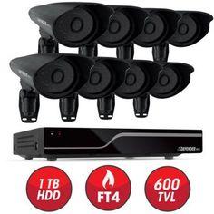 Defender PRO Sentinel 16CH H.264 1TB Security DVR w/ 8 Hi-res Outdoor Surveillance Cameras and Smart Phone Compatibility, Black