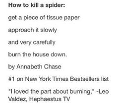 How to Kill A Spider -  #1 on New York's Bestselling List by Annabeth Chase, approved by Leo Valdez of Hephaestus TV.