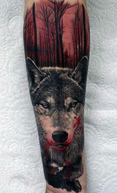 Amazing #wolf #tattoo in wood