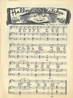 """""""Halloween Witches"""" sheet music from Child Life Magazine, October 1951."""