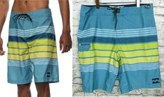 b1236b1075 Mens Billabong All Day Stripe Turquoise Overcast Swim Trunk Board Shorts W  36