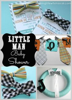 """Come meet the """"little man"""" baby shower! Invite includes bowtie that says """"Wear me around your neck or in your hair. Come meet the little man and we will see you there!"""""""