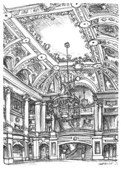 A lavish interior at the Chicago Theater - drawings and paintings by Stephen Wil. A lavish interior at the Chicago Theater - drawings and paintings by Stephen Wil. Drawing S, Painting & Drawing, Art Drawings, Stephen Wiltshire, Autistic Artist, Architecture Drawing Art, Classical Architecture, Interior Sketch, Interior Design