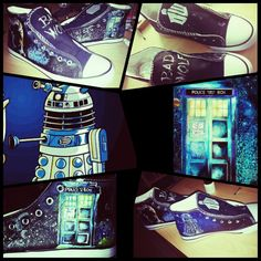 Docror who handpainted shoes - customized - by me - darek - tardis - drwho