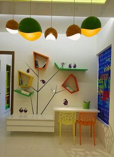 kids room decorating ideas and bright room colors-like this playful contemporary wall shelves and those pendants are very nice