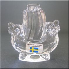 Lindshammar Swedish clear glass viking ship paperweight, labelled.