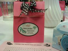 """Ladies Lunch - shoe theme    """"Sole Sisters""""! I love it!  We can add our favors in these bags and make stickers"""
