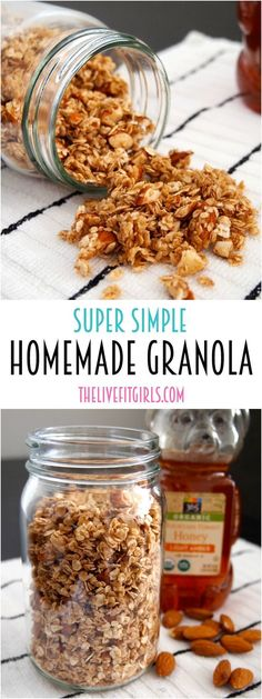 This homemade granola recipe is so easy and makes the perfect base for any granola recipe! Only a few ingredients are needed so make this clean eating granola recipe to sprinkle on top of cereal or yogurt. Pin this healthy breakfast recipe for later! Healthy Snacks, Healthy Eating, Healthy Recipes, Healthy Brunch, Healthy Cereal, Honey Recipes, Breakfast Healthy, Healthy Nutrition, Yummy Snacks
