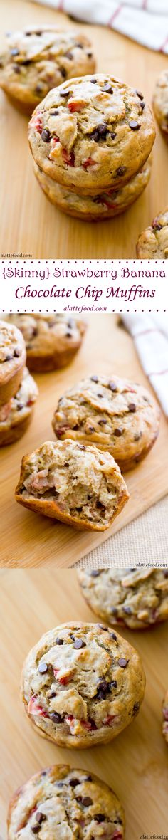 {Skinny} Strawberry Banana Chocolate Chip Muffins | These skinny muffins are free of butter and oil, but packed with amazing strawberry banana flavor! Aaaand they have mini chocolate chips in them. You're welcome.