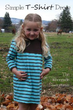 diy little girl's t-shirt dress refashion tutorial