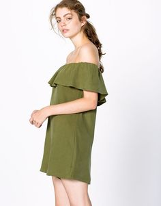 Pull&Bear - dames - tuinbroeken en jumpsuits - jumpsuit-jurk met volant…