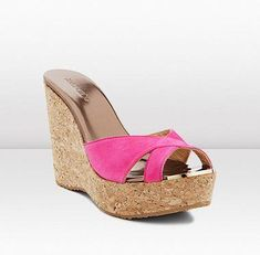 ffce3483219 JIMMY CHOO - These luxurious suede and cork wedge sandals in stunning  fuchsia are the ultimate holiday accessory.
