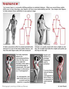 "anatoref: "" Gesture Drawing Top Image Row 2 & 3 Row 4, 5, & 6 - by Josh Reed """