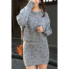$30.81 Stylish Jewel Neck Long Sleeves Cable-knit Sweater and Skirt Suits For Women