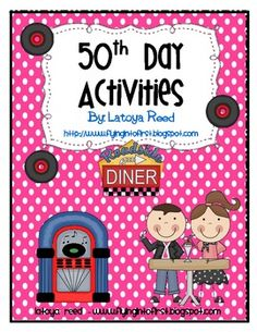 Math activities: FREE 50th Day of School Activities.  You're half way to 100 Day!  Hooray.
