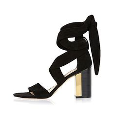 Black suede wrap mid heel sandals - heeled sandals - shoes / boots - women