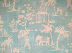 Clarke & Clarke Mandir Linen Fabric Aqua - The Millshop Online