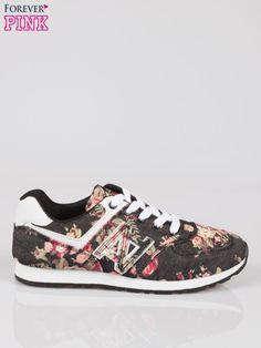 Czarne kwiatowe buty sportowe miejskie NOWOŚCI Buty \ Buty sportowe Forever Pink \ Buty Butik 160907