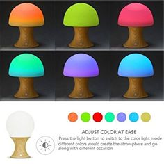 PURCHASED - Amazon.com: Aidool Multicolor Silicone Mushroom LED Mood Night Lamp,USB Rechargeable 7 Colorful Night Light, Variable Appearance Portable with Timer Mode Table Lamps: Baby