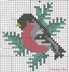 "Ornament ""bullfinch"", schemes for knitting Xmas Cross Stitch, Beaded Cross Stitch, Cross Stitch Charts, Cross Stitching, Cross Stitch Embroidery, Embroidery Patterns, Bird Quilt, Vintage Cross Stitches, Cross Stitch Animals"